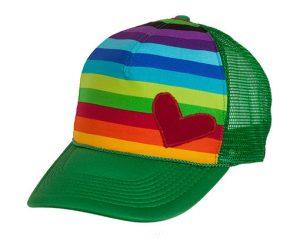 casquette rayures et verte arc-en-ciel