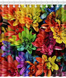 Rideau de douche fleurs arc-en-ciel