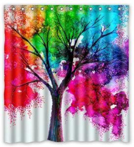 Rideau de douche arbre arc-en-ciel