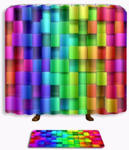 Rideau de douche cubes 3d arc-en-ciel