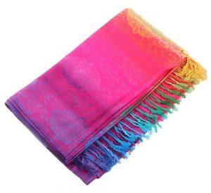 foulard châle coton imprime-arc-en-ciel