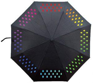 parapluie noir changeant de couleur-gouttes-arc-en-ciel
