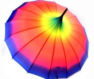 parapluie pagode dégradé arc-en-ciel