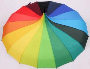 parapluie pagode tranches arc-en-ciel
