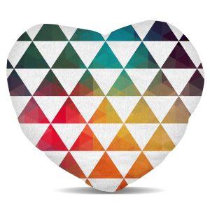 coussin arc-en-ciel triangles coeur