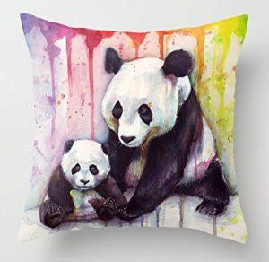 housse de coussin pandas arc-en-ciel