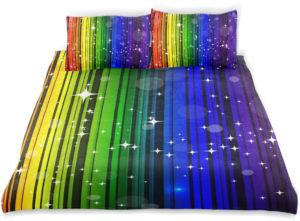 Parure de lit enfants en velours arc-en-ciel