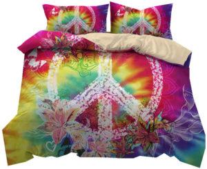 Parure de lit housse couette peace and love