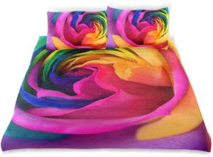 Parure de lit pour Enfant avec Housse de Couette et taie d'oreiller rose arc-en-ciel