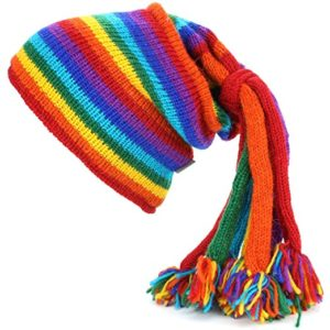 Bonnet de laine dreadlocks arc-en-ciel