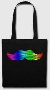 Tote bag noir motif arc-en-ciel moustache