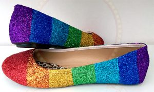 Ballerines paillettes arc-en-ciel