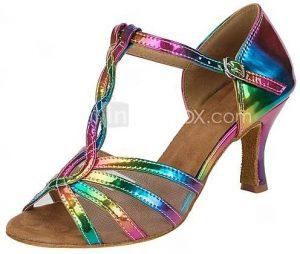 Chaussures de danse salsa arc-en-ciel