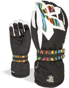 Gants de ski noirs arc-en-ciel