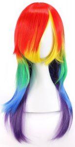 perruque arc-en-ciel cheveux longs