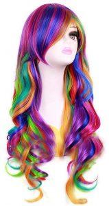 perruque arc-en-ciel cheveux longs ondulés