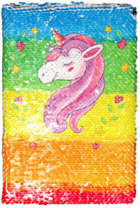 Notebook paillettes licorne arc-en-ciel