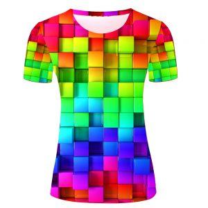 t-shirt cube 3d arc-en-ciel