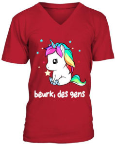 T-shirt licorne arc-en-ciel Beurk, des gens