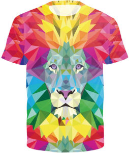 T-shirt lion arc-en-ciel