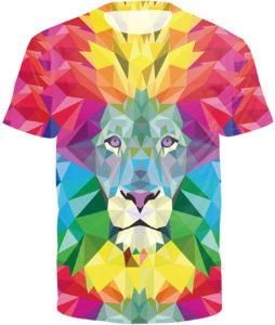 T-shirt lion arc-en-ciel
