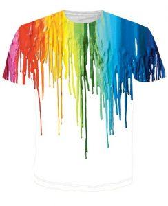 t-shirt peinture arc-en-ciel