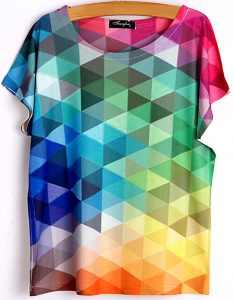 t-shirt triangles arc-en-ciel manches-courtes