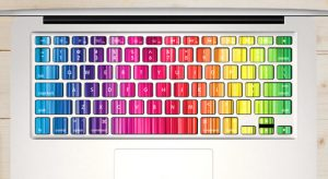 autocollant touches clavier macbook-fines-rayures-arc-en-ciel