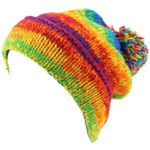 Bonnet à pompon arc-en-ciel