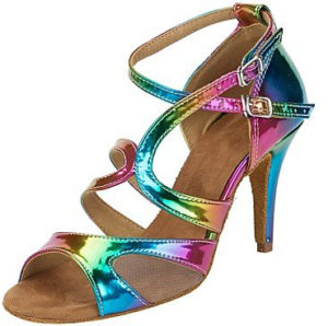 Chaussures de danse arc-en-ciel irisées