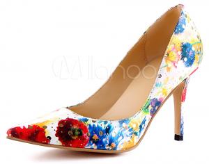 chaussures talons motifs floral arc-en-ciel