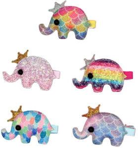 Épingles à cheveux arc-en-ciel éléphant
