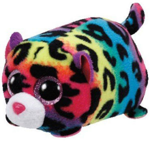 Jelly léopard peluche arc-en-ciel