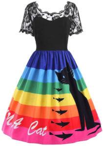 Robe de soirée vintage rayures arc-en-ciel chat