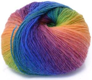 Pelote de laine cachemire arc-en-ciel