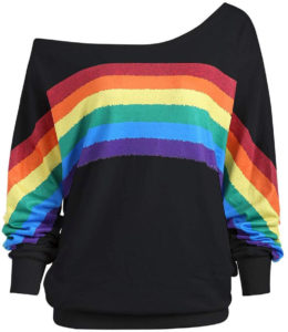 Sweat large encolure arc-en-ciel