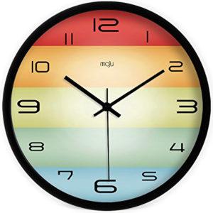 Horloge murale à rayures arc-en-ciel
