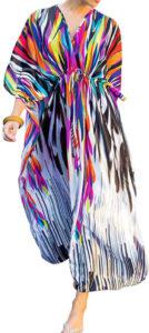 Robe-kimono col V zèbre arc-en-ciel et blanc