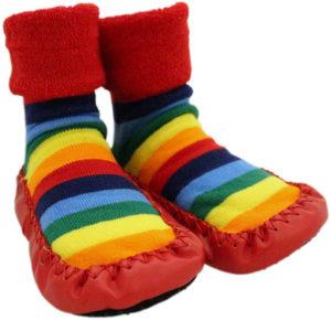 Chaussettes d'hiver épaisses à semelle antidérapante pour bébés arc-en-ciel