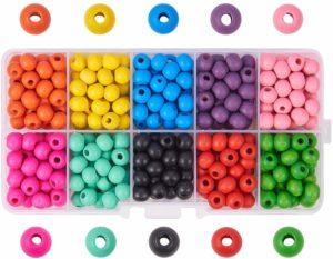 Perles de couleur en bois