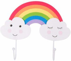 Patère pour enfant Nuage et arc-en-ciel double crochet