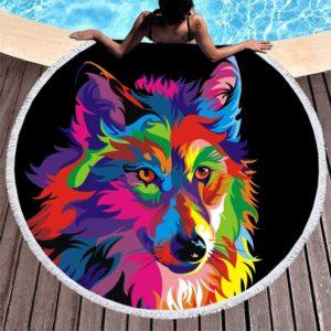 Serviette de bain ronde motif loup arc-en-ciel
