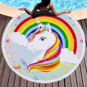 Serviette de bain motif licorne arc-en-ciel