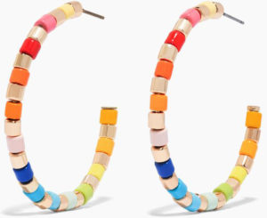 Golden rainbow hoop earrings