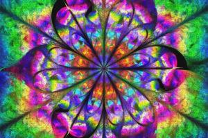 Puzzle 1000 pièces Mandala fleur psychédélique