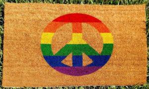 Paillasson logo peace arc-en-ciel