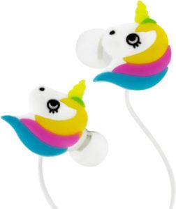 Écouteurs licorne arc-en-ciel