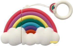 Coque silicone pour Airpods 1 et 2 en forme d'arc-en-ciel