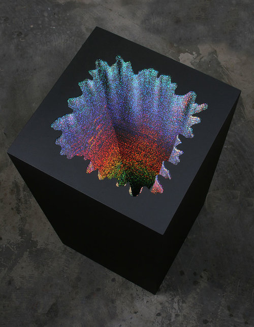 Jen Stark Holographic Square, 2012, acid-free foam board, holographic paper, glue, wood & acrylic paint, 17 x 17 x 36 in.