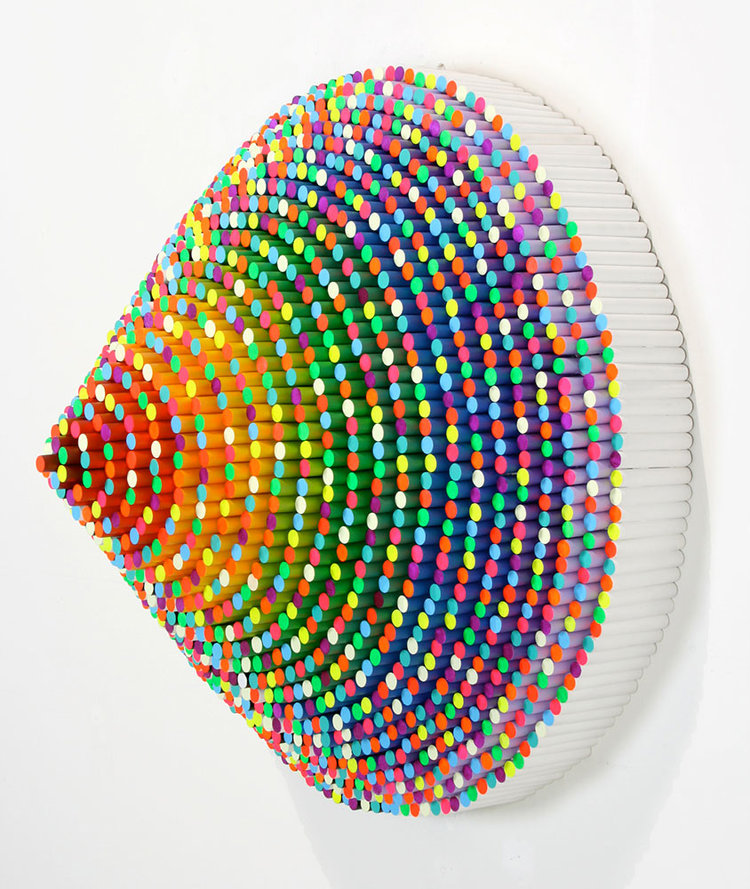 Jen Stark Trinity (side), 2011, wood dowels, acrylic paint, resin, 25 x 25 x 14 in.